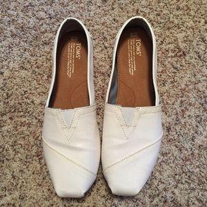 White Metallic Toms Wedding Fashion Shoes, 10